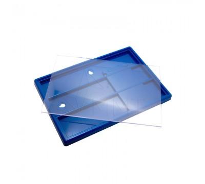 Акриловая фоторамка с магнитом 110х160 на ножке синия