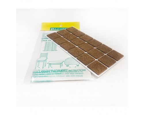 Накладки от повреждений на мебельные ножки (самоклеящиеся) 30*30мм, 18 шт., коричневый