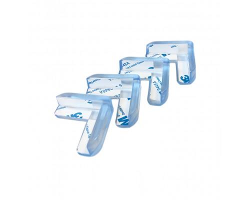 Силиконовые защитные накладки на углы мебели, 40х40мм, цвет прозрачный, 4шт