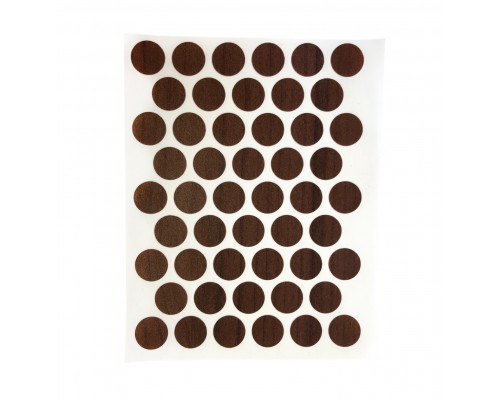 Заглушка самоклеящаяся для мебели 14мм (мебельные наклейки декоративные), упаковка 50 шт. цвет махагон