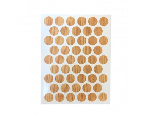 Заглушка самоклеящаяся для мебели 14мм (мебельные наклейки декоративные), упаковка 50 шт. цвет дуб светлый