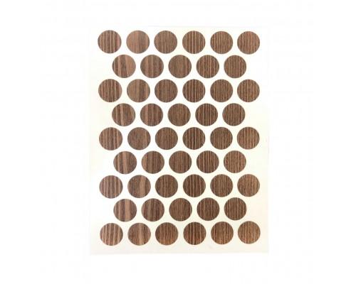 Заглушка самоклеящаяся для мебели 14мм (мебельные наклейки декоративные), упаковка 50 шт. цвет Тик жакарта