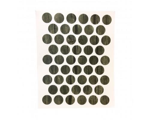 Заглушка самоклеящаяся для мебели 14мм (мебельные наклейки декоративные), упаковка 50 шт. цвет Ясень шимо темный