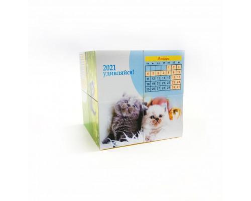 Календарь-трансформер Котики, Настольный календарь на 2021 год, кубик антистресс 80мм